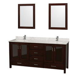 "Wyndham Collection - Wyndham Collection 72"" Lucy Espresso Double Vanity w/ White Undermount Sinks - The Lucy 72 inch double vanity with undermount sinks has a large amount of storage. There are six drawers to store all your bath items. Four tinted glass soft-close doors open to reveal two large cabinets suitable for all your bath linens. The design of the Lucy 72 inch double vanity is clean and the functionality is fantastic. The modern design puts a visual emphasis on clean lines, luxurious natural marble, abundant storage for two, and is at home in almost every bathroom decor. Included in the Lucy Double Bathroom Vanity are either solid White Carrera Marble or Ivory Marble counters, and a pair of matching mirrors. Featuring soft-close door hinges, you'll never hear a door slam shut again! A rich espresso finish, four doors, six drawers, and the ease of installation of a free-standing vanity are among the features."