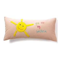 "Jacaranda Living - Living Life Sunshine Pillow - ""You make me happy when skies are blue."" This pillow will brighten any sofa or chair the minute you toss it on. Or put it on your child's bed as a constant reminder of the happiness she brings you. The hand-embroidered linen fabric is machine washable."