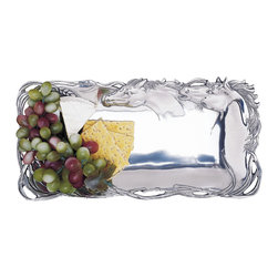 "Arthur Court - Horse 6""X12"" Bread Tray - Break bread and impress your guests with your love of horses. This gleaming cast aluminum tray is the ideal size for a hearty loaf, but will also suit fruit, crudités and other nibbles."