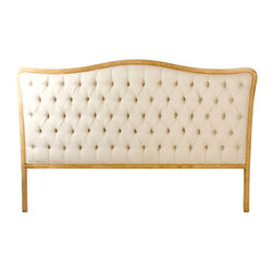 Kathy Kuo Home - Lille French Country Natural Oak Linen Tufted Headboard- King - Old World glamor is mixed with classic French and European design. With elegant curves and button tufting, the Lille Headboard reflects the luxurious design and craftsmanship of the Louis XV period. An antique reproduction, it is naturally finished and tufted in fog linen.