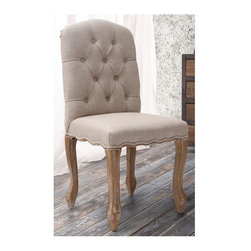 Zuo Modern - 16 in. Side Chair in Beige - Set of 2 - Set of 2. Tufted back. Curved silhouette. Tapered legs. Warranty: One year. Made from oak wood and polyester linen. Assembly required. Seat: 18.9 in. W x 16 in. D x 19.5 in. H. Overall: 18.9 in. W x 18.9 in. D x 40 in. H (32.4 lbs.)Inspired by a French design, the Noe Valley chair is elegant yet comfortable.