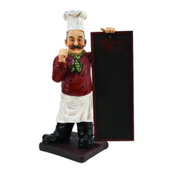 Woodland Imports - Classic Chef Holding Chalkboard Statue White Red Brown Black Decor 49427 - Classic chef holding chalkboard statue figurine in polystone with white red brown and black colors kitchen decor