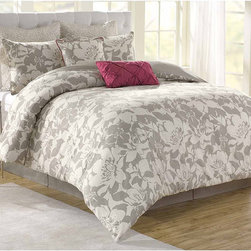None - Soho New York Home Peony 8-piece Comforter Set - The Soho New York 100-percent cotton floral comforter set will bring style and elegance to any bedroom. The set includes a comforter, bedskirt, two standard shams, two Euro shams and two decorative pillows.