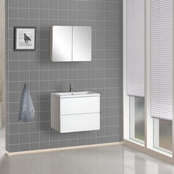 """DreamLine - DreamLine DLVRB-104-WH White Modern Wall-Mounted Vanity 23-5/8"""" - Included Components:  Hardwood vanity cabinet Ceramic vanity top Single basin bathroom sink  Vanity Cabinet Features:  Constructed of hardwood providing a lifetime of durability Vanity features 2 full extension drawers providing ample concealed storage space This model is a complete package - vanity top included This fixture is highlighted by an included full-sized mirror Complete with matching decorative hardware All necessary parts and hardware for assembly and installation are included Solid cabinet construction ensures years of reliable performance  Vanity Top Features:  Vanity top is Constructed of ceramic material providing a sturdy feel and clean appearance Top features a recessed single basin sink Faucet and waste assembly not included with this model - must be purchased separately Sturdy mounting assembly - ensuring safety and reliability All hardware needed for installation is included  Vanity Cabinet Specifications:  Overall Height: 20"""" (measured from ground level to highest point on vanity) Overall Depth: 16-1/2"""" (measured from back most to front most point on vanity) Overall Width: 23-5/8"""" (measured from left most to right most point on vanity) Mounting Style: Wall Mounted Number of Drawers: 2 Number of Doors: 0  Vanity Top Specifications:  Overall Depth: 16-1/2"""" (measured from back edge to front edge of vanity top) Overall Width: 23-5/8"""" (measured from left most to right most point on vanity top) Sink Installation Type: Drop In Drain Outlet Connection: 1-1/2"""""""