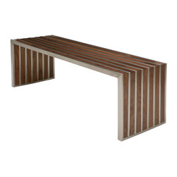 Nuevo Living - American Amici Stainless Steel Bench in Dark Walnut by Nuevo - HGDJ642 - The American Amici Stainless Steel Bench in Dark Walnut by Nuevo features a