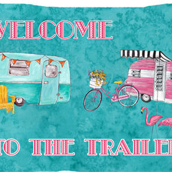 Caroline's Treasures - Welcome to The Trailer Fabric Standard Pillowcase Moisture Wicking Material - Standard White on back with artwork on the front of the pillowcase, 20.5 in w x 30 in. Nice jersy knit Moisture wicking material that wicks the moisture away from the head like a sports fabric (similar to Nike or Under Armour), breathable performance fabric makes for a nice sleeping experience and shows quality. Wash cold and dry medium. Fabric even gets softer as you wash it. No ironing required.