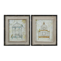 Uttermost - Uttermost Bird Cages Wall Art Set of 2 51089 - Black frames with brown distressing accent this set of prints. Inner lips and fillets have light brown distressing with a heavy taupe wash and glaze. Frame's middle sections are an open weave, light beige linen mat.