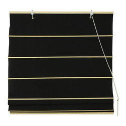 Oriental Furniture - Cotton Roman Shades - Black - (24 in. x 72 in.) - These Black colored Roman Shades combine the beauty of fabric with the ease and practicality of traditional blinds. They are made of 100% cotton.