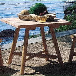 """Sebago Table - This distinctive square table makes a fine game table. 1 1/2"""" cross bracing assures legs stay firm. 28"""" H, 32"""" square top. Shipped kit."""