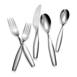 Yamazaki - Yamazaki Twirl 5-Piece Flatware Place Setting - A sculpturally forged handle with an elegant 90 degree twist makes this unique design the perfect complement for a contemporary table setting. Crafted from 18/8 stainless steel with bright high luster finish.