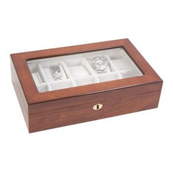 Rosewood High Gloss Watch Box - Show off your watch collection in the Rosewood High Gloss Watch Box. This handsome display case is made of Rosewood with a high gloss finish and faux chamois suede off-white interior to protect your investments. It displays up to ten watches and has brass hardware, lock, and key.
