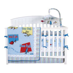 Trend Lab - Trend Lab Dr. Seuss One Fish Two Fish 4-Piece Crib Bedding Set - Hi there, baby number one! Bedtime just got much more fun. This crib set's hardly washy-wishy. But it sure is pretty fishy!