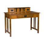 Holly & Martin - Sebastian Desk, Mission Oak - Dress up your home office, bedroom or even dorm room with this classic mission oak desk. The oak stain brings out the character of the wood and creates a piece that you are sure to cherish in your home for years to come. The top organizer has a drawer on either side for small knick-knacks and three cubby spaces in the center for small desk top items. Should you decide to use your PC or laptop with this desk, the main drawer serves a dual purpose by having a fold down front that allows the use of a keyboard. Make your home glow with this stylish mission desk.