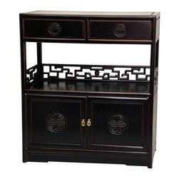 """Oriental Furniture - Rosewood Long Life Display Cabinet - Antique Black - An elegantly compact Far Eastern design accent cabinet; at only ten inches deep, it takes up very little floor space wherever it's placed. A beautiful, elaborately carved cabinet, crafted from exceptionally fine, kiln dried, distressed black lacquered Rosewood, with hand carved geometric """"key"""" design shelf rails, and carved """"Shou"""" symbol medallions and drawer pulls. This is a traditional oriental tea cabinet, built in similar configurations for hundreds of years with overhead drawers for tea, a lower cabinet for teapots and cups, and a center shelf to prepare the tea. Great looking in practically any room, home, or office, with a great combination of drawer, shelf and cabinet space."""