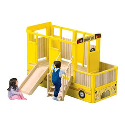 Guidecraft - School Bus Loft Playhouse - G82101 - Shop for Swings Slides and Gyms from Hayneedle.com! What We Like About the School Bus Loft You'll find that besides just taking on the role of the bus driver or a student on the way to school your child will create an endless number of games to play with the School Bus Loft. Its bright colors and spacious multi-level play area seems to encourage your child to let their imagination take them on a road trip. Kid-friendly features like the slide stairs and steering wheel just help them along the way.About GuidecraftGuidecraft was founded in 1964 in a small woodshop producing 10 items. Today Guidecraft's line includes over 160 educational toys and furnishings. The company's size has changed but their mission remains the same; stay true to the tradition of smart beautifully crafted wood products which allow children's minds and imaginations room to truly wonder and grow.Guidecraft plans to continue far into the future with what they do best while always giving their loyal customers what they have come to expect: expert quality excellent service and an ever-growing collection of creativity-inspiring products for children.