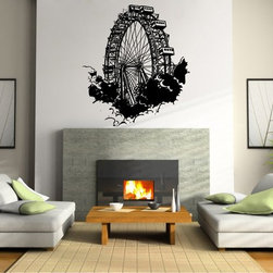 StickONmania - Ferris Wheel Sticker - A nice vinyl sticker and wall art design for your home  Decorate your home with original vinyl decals made to order in our shop located in the USA. We only use the best equipment and materials to guarantee the everlasting quality of each vinyl sticker. Our original wall art design stickers are easy to apply on most flat surfaces, including slightly textured walls, windows, mirrors, or any smooth surface. Some wall decals may come in multiple pieces due to the size of the design, different sizes of most of our vinyl stickers are available, please message us for a quote. Interior wall decor stickers come with a MATTE finish that is easier to remove from painted surfaces but Exterior stickers for cars,  bathrooms and refrigerators come with a stickier GLOSSY finish that can also be used for exterior purposes. We DO NOT recommend using glossy finish stickers on walls. All of our Vinyl wall decals are removable but not re-positionable, simply peel and stick, no glue or chemicals needed. Our decals always come with instructions and if you order from Houzz we will always add a small thank you gift.