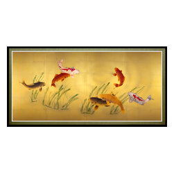 Oriental Furniture - Seven Lucky Fish Canvas Wall Art - This beautiful canvas print depicts seven koi swimming in a shallow pool, their attention momentarily distracted by a ripple on the surface of the water. Celebrated for their beauty, koi have been cultivated for centuries in Japan and China, where they are displayed in ornamental pools. This beautiful canvas wall art features a unique perspective that mimics the surface of one of these koi ponds. Featuring beautiful colors and a sophisticated design, this print is perfect for bringing the grace and serenity of Asian design to your home or business.
