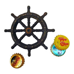 EttansPalace - Captains Boat Wheel Cast Iron Bottle Opener - You'll be the favorite ships captain afloat when you pop beer or soda tops with this vintage antique replica cast iron bottle opener! Hand-crafted exclusively for using the time-honored sand cast method, this antique replica cast iron bottle opener is hand-painted in a metallic hue for true vintage maritime style.