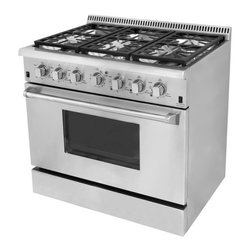 "Hyxion - 36"" Professional Style Stainless Steel Gas Range - Let this hot new gas range help you create meals like a professional chef. For those with discriminating tastes, this 5.2 cubic foot oven has the space to get it all done and the power to get it done fast. The freestanding gas range features 6 high powered gas burners which allow you to cook from a high heat for boiling, frying or searing to a low simmer for the most delicate sauces. With its classic stainless steel body and modern black finishes this freestanding gas range is designed to perform as well as it looks."