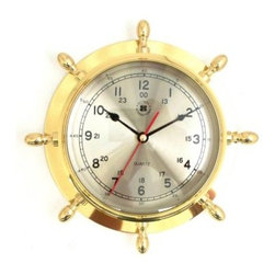 Bey-Berk International Brass Ships Wheel Clock - Tarnish Proof - The Bey-Berk International Brass Ships Wheel Clock T.P. may bring out your old salty personality. Take the wheel of smart home or office decor with a practical timepiece featuring an analog quartz-movement clock and a solid brass, tarnish-proof frame. Makes a thoughtful gift. About Bey-Berk InternationalThis quality item is created by Bey-Berk. For more than 20 years, Bey-Berk International has crafted and hand-selected unique gifts and accessories from around the world to meet the demands of discerning customers. With its line of elegant and distinctive products, Bey-Berk has established itself as a leader in luxury accessories.