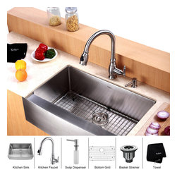 Kraus - Kraus 30 inch Farmhouse Single Bowl Stainless Steel Kitchen Sink with Kitchen Fa - *Add an elegant touch to your kitchen with unique Kraus kitchen combo