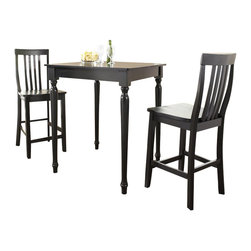 Crosley Furniture - Crosley Furniture 3-Piece Pub Dining Set with Turned Leg and School House Stools - Crosley Furniture - Pub Sets - KD320011BK - Constructed of solid hardwood and wood veneers the 3 piece Pub / High Dining set is built to last. Whether you are looking for dining for two or just a great addition to the basement or bar area this set is sure to add a touch of style to any area of your home.