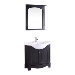 "Vanova - Vanova VA105-31E Espresso Cabinet, Basin & Mirror Brown Vanity - Our stylish floor standing all wood vanity includes a white ceramic top with an integrated oval sink and two soft closing  doors with matching mirror.  Color: Espresso, Vanity: 31""W x 20""D x 33""H, Mirror: 28.74""W x 5.5""D x 34.64""H, Includes: Cabinet-Basin & Mirror, Hardware: Soft-closing doors, Faucet & drain not included"
