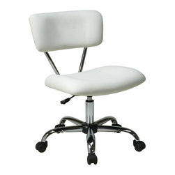 """Avenue Six - Vista Task Office Chair in White - Avenue Six Vista Task Office Chair in White; Vinyl padded seat and back; One touch pneumatic seat height adjustment; 360 degree swivel; Chrome finish frame and base; Dual wheel carpet casters for mobility; Greenguard: No; Weight Capacity: 200; Outer Materials: Vinyl / Chrome; Assembly required: Yes; Dimensions: 19.25""""W x 25.75""""D x 33""""H"""
