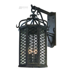 Troy Lighting - Troy Lighting Los Olivos 60W Cand. Traditional Outdoor Wall Sconce - Large X-IO4 - This large Troy Lighting Los Olivos 60W Cand. Traditional Outdoor Wall Sconce is sure to stand out in any space. It has an interesting design, with its hand-forged iron frame in an old iron finish with a backplate and panels of clear seeded glass that peek from behind detailed metal work. It's a fascinating, four-light wall lantern that will certainly turn heads wherever it hangs.
