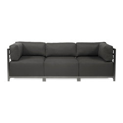 Howard Elliott - Sterling Charcoal Axis 3-piece Sectional - Titanium Frame - A Fashionable Trio! Lounge in style on a Sterling Axis 3pc Sectional will intoxicate your room with its uplifting style. Float the Sterling Axis 3pc Sectional in your room for an intimate seating arrangement. Expand your sectional with additional Chair, Corner or Ottoman Pieces. This piece features boxed cushions with Velcro attachments to keep the cushions from slipping and looking their best all of the time. Your Sterling Axis 3pc Sectional will definitely turn heads with its sophisticated linen-like texture and vibrant color selection. This Sterling Charcoal piece is 100% Polyester finished in a soft burlap texture in a charcoal grey color. 95.5 in. W x 32.5 in. D x 30 in. H
