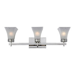 Z-Lite - Z-Lite 3 Light Vanity Light - This three light vanity fixture provides a stunning look with the white watermark glass shades, glimmering crystal accents and polished nickel hardware. This fixture can either be hung up or down, depending on the needs of the user.