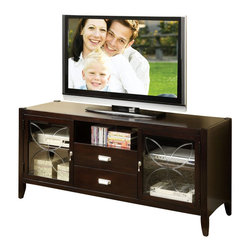 Riverside Furniture - Riverside Furniture Annandale 60-Inch TV Console in Dark Mahogany - Riverside Furniture - TV Stands - 12441 - Riverside uses furniture construction techniques and select materials to provide quality durability and value in our products and allows us to meet the wide range of design and budget requirements of our customers. The construction of our core product line consists of a combination of cabinetmaker hardwood solids and hand-selected veneers applied over medium density fiberboard (MDF) and particle board. MDF and particle board are used in quality furniture for surfaces that require stability against the varying environmental conditions in modern homes. The use of these materials allows Riverside to design heirloom quality furnishings that are not only beautiful but will increase in value through the years.