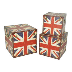 Screen Gems - Union Jack Trunks - Let the iconic imagery of the British flag shine in your home with these decorative storage trunks. Three distinct sizes allow you to stack them for a tiered look or spread them around a room for a flexible design. They add just the right pop of personality to your playful home.