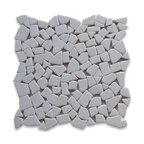 "Stone Center Corp - Thassos White Marble River Rocks Pebble Stone Mosaic Tile Tumbled - Premium Thassos white marble random pebbles mounted on 12"" x 12"" sturdy mesh tile sheet"