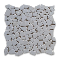 "Stone Center Corp - Thassos White Marble River Rocks Pebble Stone Mosaic Tile Tumbled - Premium Thassos white marble random pebbles mounted on 12"" x 12"" sturdy mesh tile sheet"