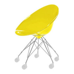 Kartell - Ero S Rolling Armchair - Ero S Rolling Chair  is available in Polished Aluminum finish with Transparent Crystal Green, Transparent Clear Crystal, Cobalt, Opaque Red, Opaque Glossy Black, Opaque Glossy White, Transparent Straw Yellow or Transparent Sunset Orange. Ero S is a rolling armchair with an organic egg shape, a refined combination of finishes and interesting use of color. The quality and richness of its components make it particularly elegant and sophisticated. Ero S is ideal for the home, in dining or living rooms, as well as office settings. 24 inch width x 31 inch height.