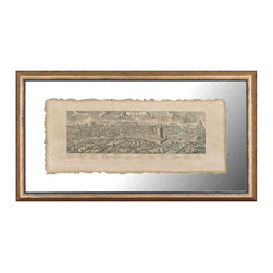 Rome-Replica of Antique Engraving - Give your traditional or eclectic room the authority of empire with this reproduction antique print of a sketch of the city of Rome titled in scrollwork, labeled with important landmarks, and providing a swath of parchment color to your wall with old-world educated elegance. The print has a natural deckle edge which looks beautiful against the color of your wall, as it is encased in crystal-clear glass that lets its background show through within an elegant antiqued frame.