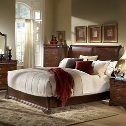 York Low Profile Sleigh Bed Set - From just a bed up to an entire new bedroom suite, the York Low Profile Sleigh Bed Set will give your room a dramatic blend of traditional and contemporary styles. Durably built from Asian rubberwood, this bedroom set is finished in a gorgeous, rich cherry. Available in your choice of bed size and set configuration.Dimensions:Queen Bed: 81L x 63W x 60H inchesKing Bed: 81L x 79W x 60H inchesNightstand: 27W x 16.5D x 27.25H inches5 Drawer Chest: 37W x 18D x 52H inches9 Drawer Dresser: 64W x 18D x 38.5H inchesMirror: 44W x 1.25D x 42H inchesAbout Homelegance, Inc.Homelegance takes pride in offering only the highest quality home furnishings that incorporate innovative design at the best value. From dining sets to mirrors, sofas, and accessories, Homelegance strives to provide customers with a wide breadth and depth of selection as well as the most complete and satisfying service available for their category. Homelegance distribution centers are conveniently located throughout the United States and Canada.