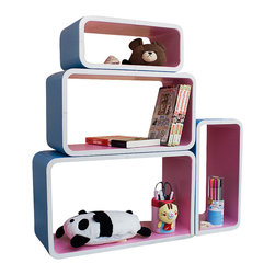 Blancho Bedding - Orchid & Skyblue Rectangle Leather Wall Shelf / Floating Shelf  Set of 4 - These rounded corner wall cube shelves add a new and refreshing element to your room and can be easily combined with other pieces to create a customized wall space. Coming in various colors and sizes, they spice up your home's decor, add versatility, and create a whole new range of storage spaces. You can hang them on the wall, or have them stand on table or floor, any way you like. Fashion forward design has never been so functional. This range of faux leather storage cubes is sure to delight! Perfect for wall mounting, these modern display floating shelves are sure to delight. Constructed from MDF with a top faux leather wrapping. Easy to mount, easy to love! Attractive shelf boxes give any wall in your home a striking appearance. Arrange in whatever fashion you like - whether it be grouped together or displayed separately. Each box serves as a practical shelf, as well as a great wall decoration.
