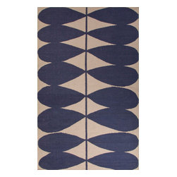 Jaipur Rugs - Flat-Weave Geometric Pattern Wool Blue/Ivory Area Rug ( 4x6 ) - En Casa is the design collection of Cuban born, Queens, NY raised painter and surface designer, Luli Sanchez. This collection is based off of her painterly works of art that capture an organic and moody yet optimistic spirit. Her geometric paintings were truly inspiring for this flatweave collection.