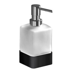 Gedy - Square Frosted Glass Soap Dispenser - Contemporary, modern style square frosted or satin glass hand soap dispenser.