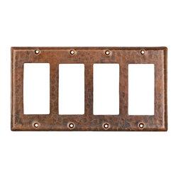Premier Copper Products - Quadruple Ground Fault/Rocker Cover GFI - Copper Switchplate Quadruple Ground Fault/Rocker Cover GFI