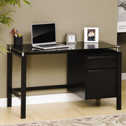 "Studio RTA - Lake Point Computer Desk with Glass - The Lake Point line is a contemporary design glass and metal concept at a great value that fits into any setting. Perfect for young people, small home office or anywhere that requires an affordable solution. Features: -Desk.-Safety-tempered black glass top.-Slide-out storage drawer.-File drawer holds letter-size hanging files.-Steel frame and glass construction.-Distressed: No.-Collection: Lake Point.-Desk Type: Computer Desk.-Top Finish: Black Glass safety tempered.-Base Finish: Black.-Accent Finish: Black/Black glass.-Powder Coated Finish: No.-Gloss Finish: No.-UV Finish: No.-Hardware Material: Steel frames; metal.-Non-Toxic: Yes.-Water Resistant: No.-Stain Resistant: Yes.-Heat Resistant: Yes.-Style: High Tech Contemporary.-Design: Rectangular.-Hardware Finish: Steel/metal.-Eco-Friendly: Yes.-Cable Management: No.-Keyboard Tray: No.-Height Adjustable: No.-Drawers Included: Yes -Number of Drawers: 2.-File Drawer: Yes.-Drawer Glide Material : Metal runners with safety stops.-Drawer Glide Extension: Full extension.-Safety Stop : Yes.-Soft-Close Drawer: Yes.-Locking Drawer: No.-Ball Bearing Glides: Yes.-Joinery Type : Allen bolt.-Drawer Handle Design: Full length pull..-Pencil Drawer: No.-Jewelry Tray: No.-Exterior Shelving : No.-Cabinets Included: No.-Ergonomic Design: No.-Handedness: both.-Scratch Resistant: Yes.-Chair Included: No.-Legs Included: Yes -Number of Legs: 4.-Leg Material: Steel.-Leg Glides: No..-Casters Included: No.-Hutch Included: No.-Treadmill Included: No.-Cork Back Panel: No.-Modesty Panel : No.-CPU Storage: No.-Built In Outlet: No.-Built In Surge Protector: No.-Light Included: No.-Finished Back: No.-Tipping Prevention: No.-Modular: No.-Lifestage: Teen-adult.-Commercial Use: No.-Product Care: Wipe with damp cloth.-Weight Capacity: 70 lbs.-Swatch Available: No.-Recycled Content: Yes -Remanufactured/Refurbished : No..Specifications: -FSC Certified: Yes.-EPP Certified: Yes.-CARB Compliant: Yes.-ISTA 3A Certified: Yes.-Green Guard Certified: No.-ANSI BIFMA Certified: No.-SCS Certified: No.Dimensions: -Overall Product Weight: 94 lbs.-Overall Height - Top to Bottom: 28.94"".-Overall Width - Side to Side: 45.98"".-Overall Depth - Front to Back: 22.64"".-Desk Return: No.-Credenza: No.-Bridge: No.-Cabinet: No.-Drawer: Yes.-Shelving: No.-Seat: No.-Desktop Height: 28.88"".-Desktop Width - Side to Side: 46"".-Desktop Depth - Front to Back: 22.63"".-Hutch : No.-Legs: Yes.Assembly: -Assembly required.-Assembly Required: Yes.-Tools Needed: Phillips screwdriver and hammer.-Additional Parts Required: No.Warranty: -Product Warranty: 5 years."