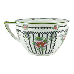 Lavish Shoestring - Consigned Black & Pink Flower Planter by Hancock & Sons, English Edwardian, circ - This is a vintage one-of-a-kind item.