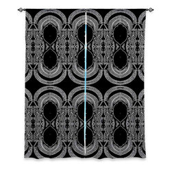 """DiaNoche Designs - Window Curtains Lined by Susie Kunzelman - Black Drape - Purchasing window curtains just got easier and better! Create a designer look to any of your living spaces with our decorative and unique """"Lined Window Curtains."""" Perfect for the living room, dining room or bedroom, these artistic curtains are an easy and inexpensive way to add color and style when decorating your home.  This is a woven poly material that filters outside light and creates a privacy barrier.  Each package includes two easy-to-hang, 3 inch diameter pole-pocket curtain panels.  The width listed is the total measurement of the two panels.  Curtain rod sold separately. Easy care, machine wash cold, tumble dry low, iron low if needed.  Printed in the USA."""