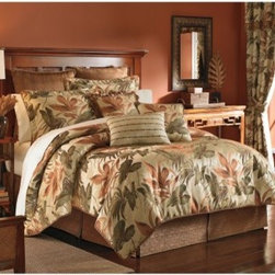"Croscill Bali Comforter Set - Whisk yourself away on a tropical vacation every time you slumber with the Croscill Bali Comforter Set. The chic ivory background features a warm palette of green palm leaves and spice-colored flowers, instantly transporting you to warmer climates. The multicolor cording detail and red-gold textured bedskirt add another layer of depth, while coordinating shams finish the look. Dry clean only. Choose from available sizes.Comforter Dimensions:Queen: 92L x 96W in.King: 96L x 110W in.Calif. king: 96L x 110W in.About CroscillCroscill was started in 1946. This company began with a revolutionary twist on the standard window curtain. Based in Brooklyn, New York, this company was named ""Croscilla"" for the way in which their curtain went across the entire window sill. From the very beginning, Croscill set the highest standards for designs that beautify the home and enrich daily lives. Their design team includes industry leaders who are dedicated to providing a wide array of elegant choices. From timeless classics to the latest trends, you'll find the look you want at Croscill."