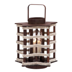 Benzara - Wood Lantern Crafted with Classical Design - Attractive in appearance, this wooden lantern serves its purposes as a lighting aid as well as a worthy art piece. The classical lantern structure is perfectly recreated in great style is designed to exude subtle charm with its appearance. The contrasting light and dark shades of the lantern add to its beauty. With its old world charm, this lantern is a worthy art piece that enlivens the room decor The wooden pieces are installed perfectly all around in a regular circular pattern and capped with a circular disc like cap complete the lantern appearance. The smaller cap on top is fitted with a rope handle that enables the lantern to be carried easily. The lamp can be placed comfortably in the center spot and lighted to give adequate and pleasing light when required.. The lantern is made of high quality wood that includes wooden pieces with appropriate strips to complete the structure..