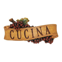 """EttansPalace - Italian Cucina Kitchen Grapes Sculptural Wall Plaque Decor - You're sure to enjoy this proclamation exclaimed in Italy and beyond! Our grape-laden, scrolled wall plaque is cast in quality designer resin and hand-painted as a perfect gift for yourself or someone who shares your love of life and food. Each approx. 14.5""""W x 3""""D x 5.5""""H. 1 lb. Sawtooth hanger"""