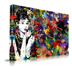"Apt2B - Audrey Hepburn' Print by Maxwell Dickson, 18"" x 24"" - Show off your restrained glamour — and your wild abandon — with this paint-spattered Audrey Hepburn wall hanging. Printed with water-based, ecofriendly inks on archival museum-quality gallery wrapped canvas, it comes in different sizes ready to hang."