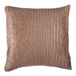 Rizzy Home - Tan Ruched Pillow - Cozy up with this plush pillow that boasts a pleasant texture and rich hue for comfort and flair.   18'' x 18'' Cover: 100% polyester Fill: 100% polyester Machine wash; dry flat Imported